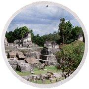 Palenque Ruins Round Beach Towel