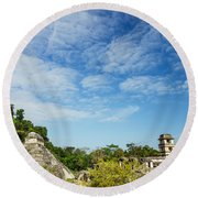 Palenque Temples Round Beach Towel