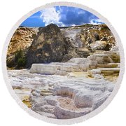 Palette Spring Terrace Panorama - Yellowstone National Park Wyoming Round Beach Towel