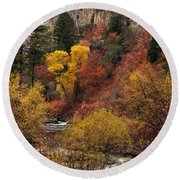 Palisades Creek Canyon Round Beach Towel
