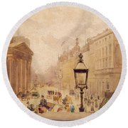Pall Mall From The National Gallery Round Beach Towel