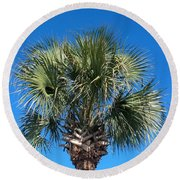 Palm Against Blue Sky Round Beach Towel