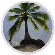 Palm At The Edge Of The Sea Number Two Round Beach Towel