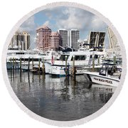 Palm Beach Docks Round Beach Towel