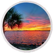 Palm Beach Sunset Round Beach Towel