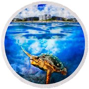 Palm Beach Under And Over Round Beach Towel