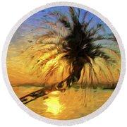 Palm Beauty Round Beach Towel