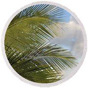 Palm Close Up 3 Round Beach Towel