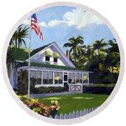 Palm Cottage Naples Florida Round Beach Towel
