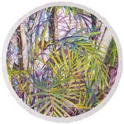 Palm Grove Round Beach Towel