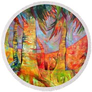 Palm Jungle Round Beach Towel