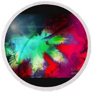 Palm Prints Round Beach Towel