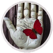Palm Reading Hand And Butterfly Round Beach Towel
