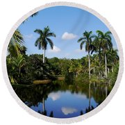 Palm Reflection And Shadow Round Beach Towel