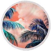Palmscape Red Round Beach Towel