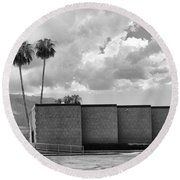 Palm Springs City Hall Bw Palm Springs Round Beach Towel