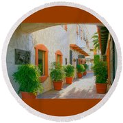 Palm Springs Courtyard Round Beach Towel