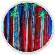 Palm Springs Nocturne Original Painting Round Beach Towel