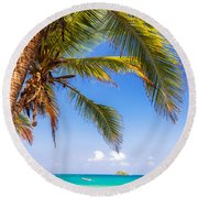 Palm Tree And Caribbean Round Beach Towel