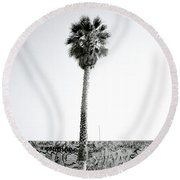 Palm Tree And Graffiti Round Beach Towel