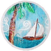 Palm Tree And Sailboat By Jan Marvin Round Beach Towel