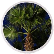 Palm Tree At Night Round Beach Towel