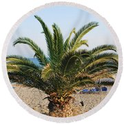 Palm Tree By The Beach Round Beach Towel