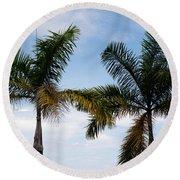 Palm Tree In Costa Rica Round Beach Towel
