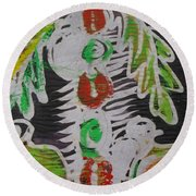 Palm Tree In The Bush.   Round Beach Towel
