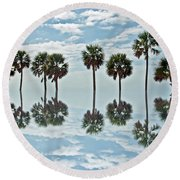 Palm Tree Reflection Round Beach Towel