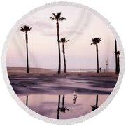 Palm Tree Reflections Round Beach Towel