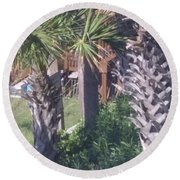 Palm Tree Scenery Round Beach Towel
