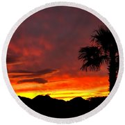 Palm Tree Silhouette Round Beach Towel