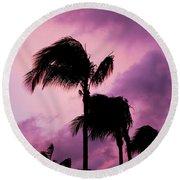 Palm Tree Silhouettes At Dusk In Aruba Round Beach Towel