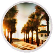 Palm Tree Sunrise Round Beach Towel