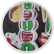 Pen And Drawing Batik Palm Tree With Keg Of Palm Wine. Round Beach Towel
