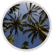 Palm Trees 3 Round Beach Towel