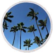 Palm Trees Against A Clear Blue Sky Round Beach Towel