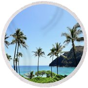 Palm Trees Along The Coast Of Waimanalo Round Beach Towel