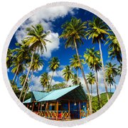 Palm Trees And Colorful Building Round Beach Towel