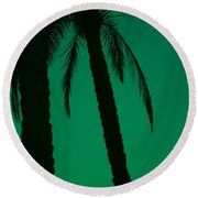 Palm Trees And Emerald Sky. Round Beach Towel