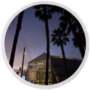 Palm Trees And Hp Pavilion San Jose At Night Round Beach Towel