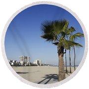 Palm Trees At Long Beach California Round Beach Towel