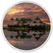 Palm Trees At Sunset Round Beach Towel