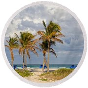Palm Trees At The Beach Round Beach Towel