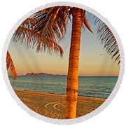 Palm Trees By A Restaurant On The Beach In Bahia Kino-sonora-mexico Round Beach Towel