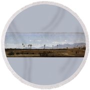 Palm Trees In Elche Round Beach Towel