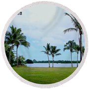 Palm Trees In Oahu Round Beach Towel