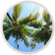 Palm Trees In Puerto Rico Round Beach Towel
