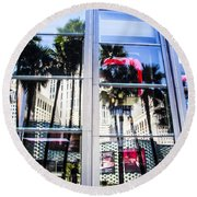 Palm Trees In Reflection Round Beach Towel